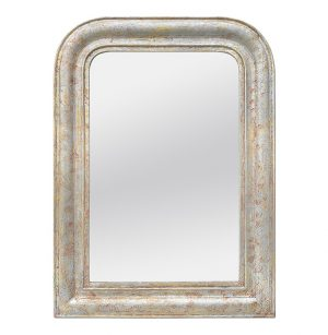 Louis-Philippe Style Mirror, Silverwood & Ocher Colors, circa 1890
