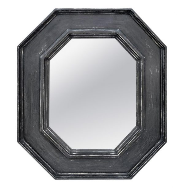 Octagonal French Mirror, Slate Grey Color by Atelier RTCD - Paris