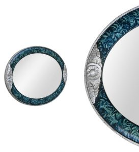 oval-Art-deco-style-mirror-silvered-wood-with-flowers-decor