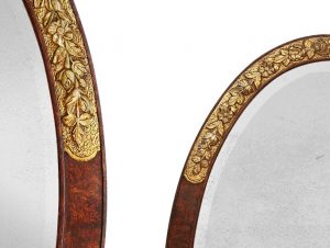 painted-wood-oval-frame-with-gilded-floral-ornaments-Art-Deco-style