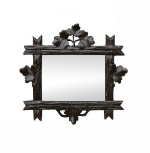 Small Antique Dark Wood Mirror with Leaves Carved