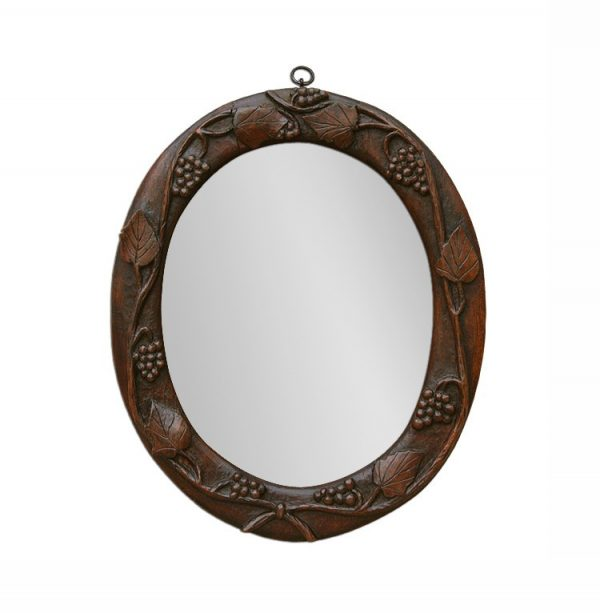 Small Antique Oval Mirror with Wood Carved Vines Decor