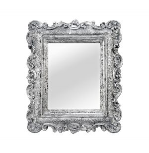 Small Antique Silverwood Baroque Style Mirror, circa 1890